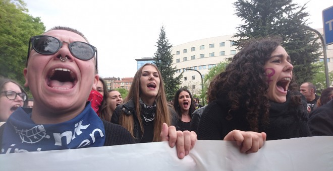 Manifestación en Pamplona contra la sentencia de 'La Manada'.