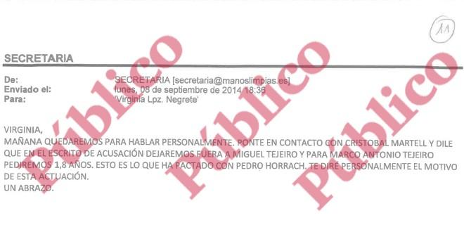 Email enviado por Miguel Bernad a su letrada, Virginia López Negrete, acerca de retirar la imputación a Miguel Tejeiro y rebajarla a su hermano Marco Antonio Tejeiro, asesor fiscal de Urdangarín y cuñado de su exsocio, Diego Torres.