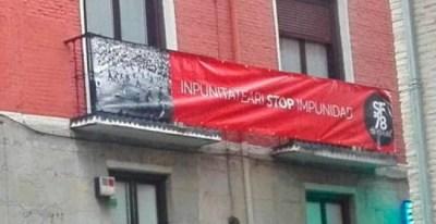 La pancarta 'Stop impunidad' que recuerda la muerte de Germán Rodríguez.
