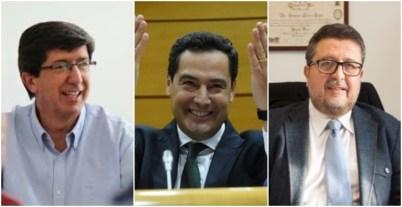 De izquierda a derecha: Juan Marín (Cs), Juanma Moreno Bonilla (PP) y Francisco Serrano (Vox).
