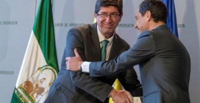 El vicepresidente de la Junta de Andalucía, Juan Marín, y el presidente,Juanma Moreno. EFE