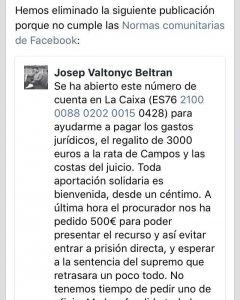 Anuncio en Facebook de Valtonyc.