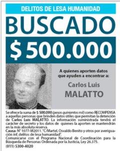 Cartel de 'Buscado' del teniente coronel Malatto, hoy residente en Italia, en Argentina.