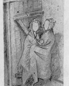 Neús y Titi bajo las bombas en Ravensbrük en el dibujo de una compañera del campo de exterminio.