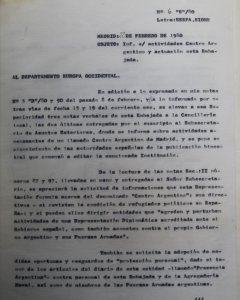 Documento secreto sobre el Centro Argentino. PÚBLICO