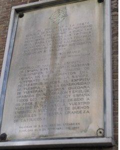 Placa con discurso de Franco.- FORO POR LA MEMORIA