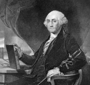 George Washington (1731-1799) on engraving from 1859. First President of the U.S.A. during 1789-1797  and commander of the Continental Army in the American Revolutionary War during 1775-1783. Considered as Father of his country. Engraved by unknown artist and published in ''Portrait Gallery of Eminent Men and Women with Biographies'',USA,1873.