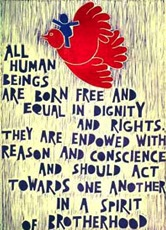 Text of Art. 1 of the Universal Declaration of Human Rights at the UN, New York City ©2013 | UCLA Asia Institute (cropped)