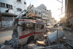 Destroyed ambulance in the CIty of Shijaiyah, August 6, 2014 © Boris Niehaus   Wikimedia Commons
