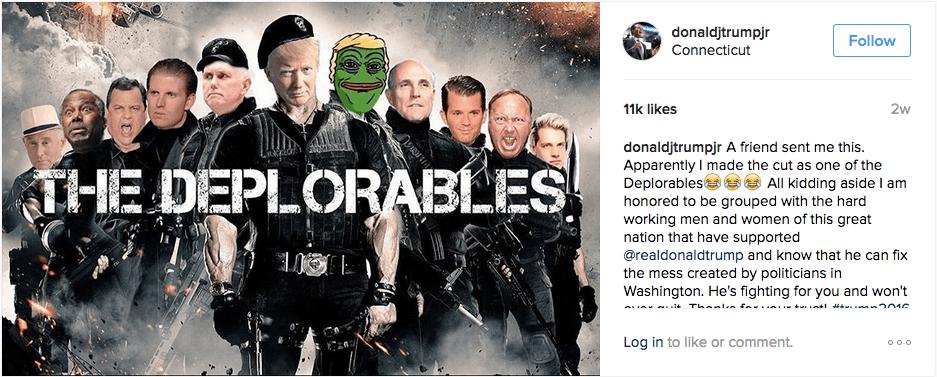 Deplorables: Donald Trump Jr's Instagram account