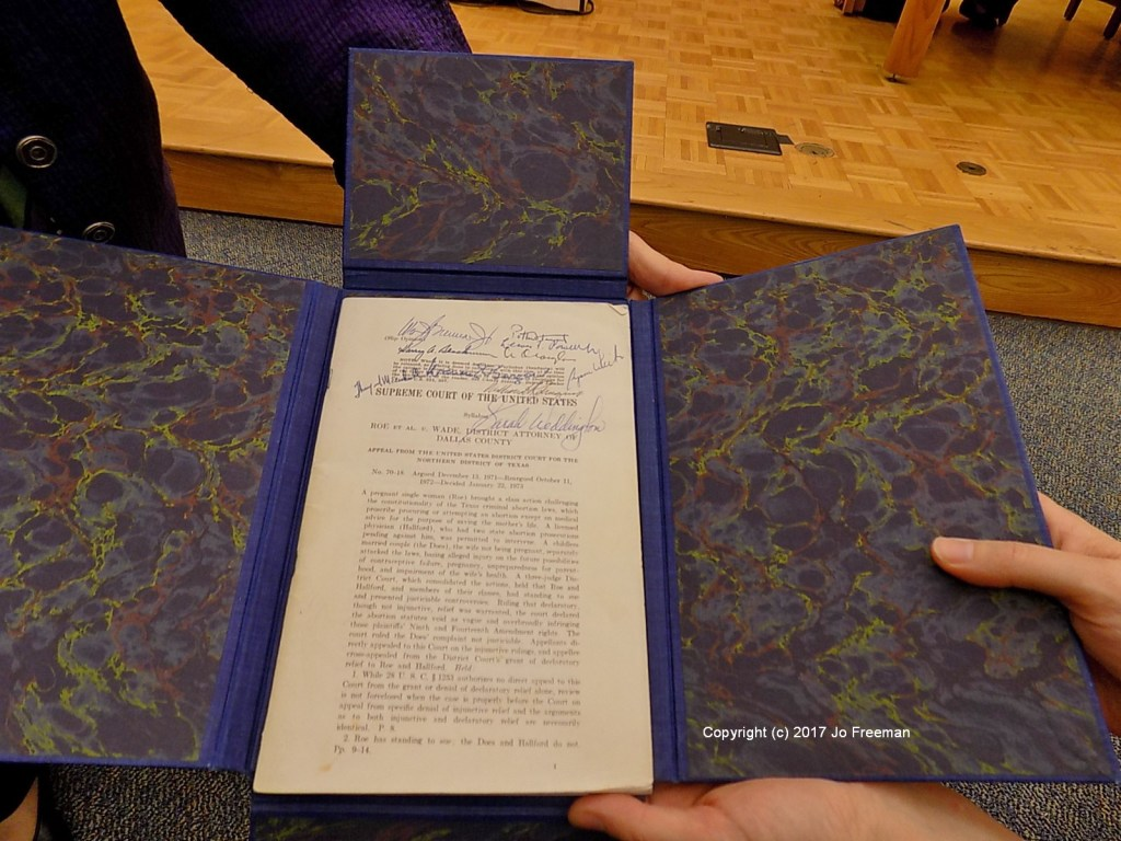 A copy of Roe v. Wade autographed by all of the deciding Justices. © Jo Freeman