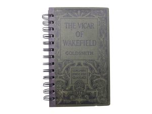 front of the vicar of wakefield notebook made from a vintage book
