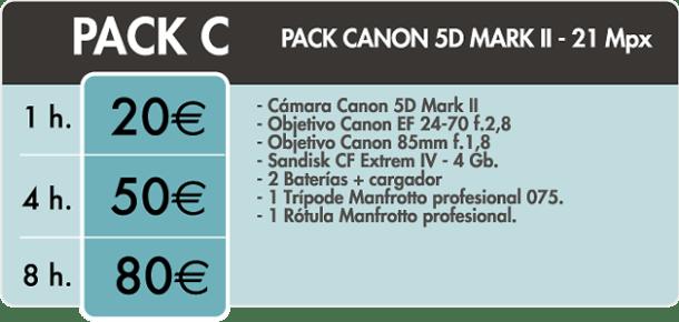 Tarifa alquiler de material fotográfico - Canon 5d Mark II