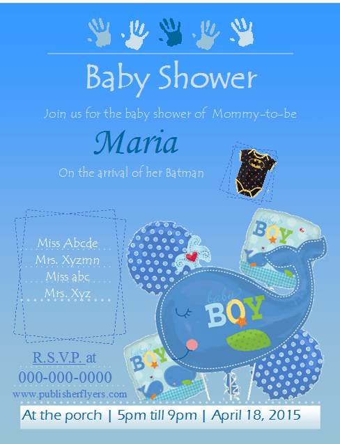 Baby Shower Flyer Template Boys Publisher Flyer Templates
