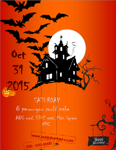 picture about Free Printable Halloween Flyer Templates called Creepy Halloween Publisher Flyer Template Publisher Flyer