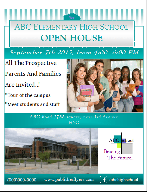 Open House Flyer Template | High School Open House Flyer Template Publisher Flyer Templates