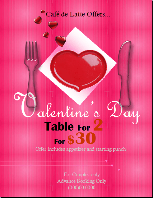 Valentines Day Special Dinner Flyer Template Publisher Flyer