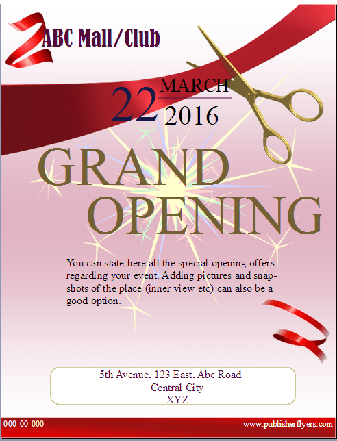 grand opening flyer template publisher flyer templates