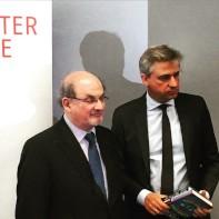 Author Salman Rushdie with Frankfurt Book Fair Director Juergen Boos