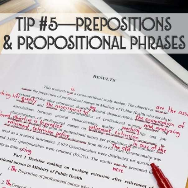 use of prepositions and phrases in writing