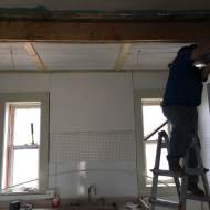 Stan gets the kitchen ceiling up. Lights next.