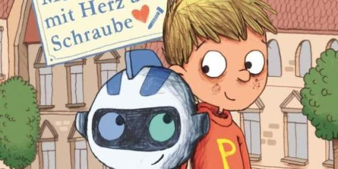 Lustiges Titel-Cover mit Roboter und Junge.
