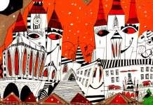 Zeichnung in abstrakten schwarzen Linien und roten Flächen der Kirchen