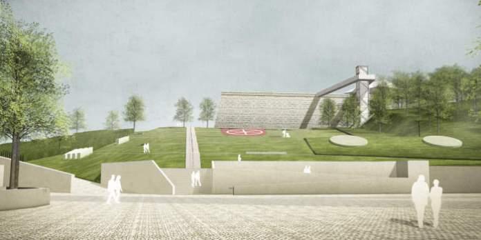 ein gepflasterter Platz, im Hintergrund eine Treppenanlage und ein im Zickzack den Hang hinauf verlaufender Weg