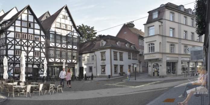 eine Darstellung des sanierten Platz umrahmt von historischen Gebäuden