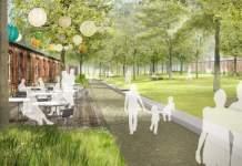 eine Visualisierung zeigt Spaziergänger in einer Parkanlage mit Backsteingebäude und einer Außenterrasse