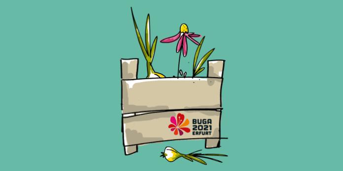 stilisierte Kiste mit Blumen und Blumenzwiebeln und dem Logo der Bundesgartenschau