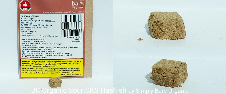 38.659% THC BC Organic Sour CKS Hashish by Simply Bare Organic