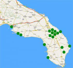 puglia (cartina con puntini)