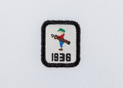 Pukka beanie label shape, rectangle and date with satin stitch