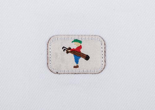 Pukka beanie label shape, rounded corner rectangle with jump stitch