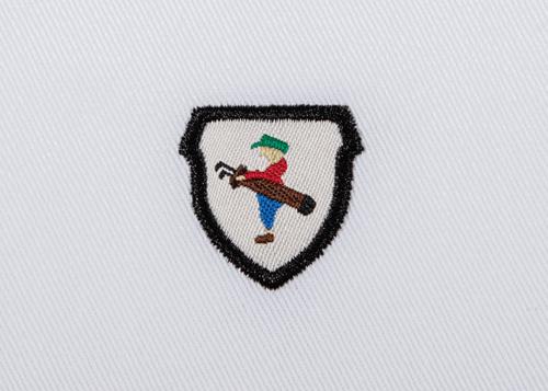 Pukka beanie label shape, shield with satin stitch