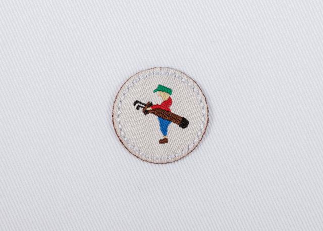 Pukka beanie label shape, circle with jump stitch