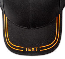 Pukka hat, visor stitching, 4 rows, 2 thick satin stitch with center text, 1 color