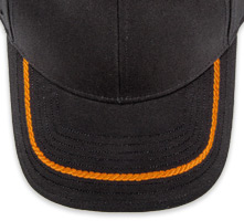 Pukka hat, visor stitching, 8 rows, 1 rope stitch, 1 color