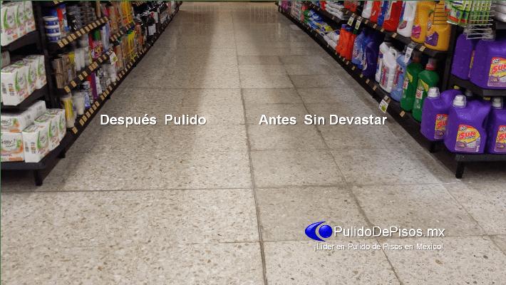 desbastado y pulido de piso terrazo antes y después