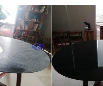 pulido de mesa de mármol