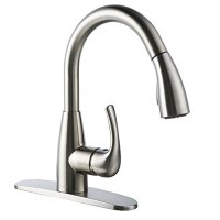 BOHARERS Kitchen Sink Faucet Pull-Down Sprayer Single Handle Nylon Hose and Docking System,Brushed Nickel