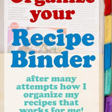 Organized Recipe Binder