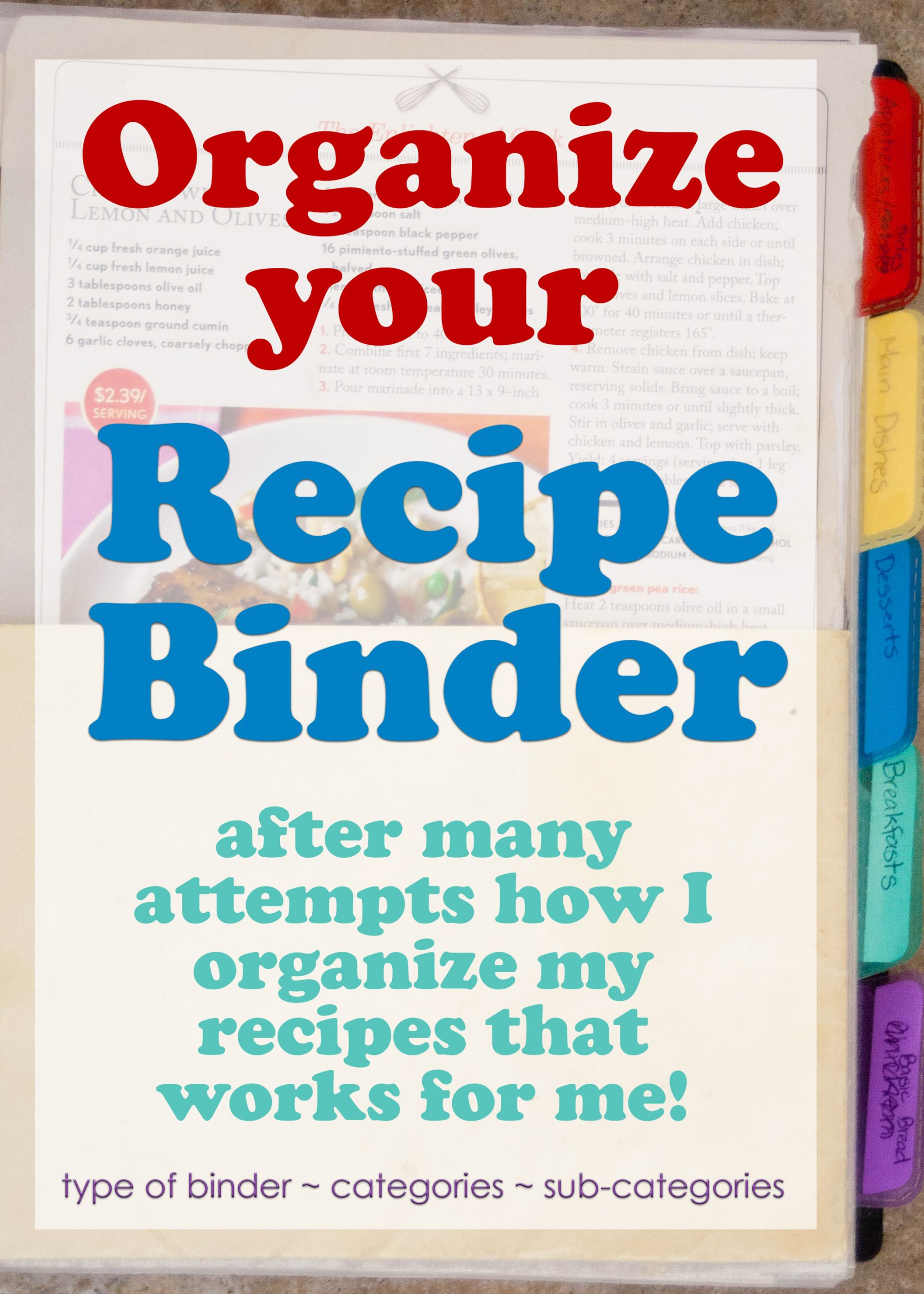 A Recipe Binder can be an easy way to assist in meal planning, as well as keeping your favorite recipes at your fingertips.