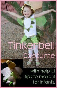How to make a Tinkerbell costume for a baby, toddler or preschooler.  ALSO with tips for sewing on sparkly fabric (made by the devil himself)