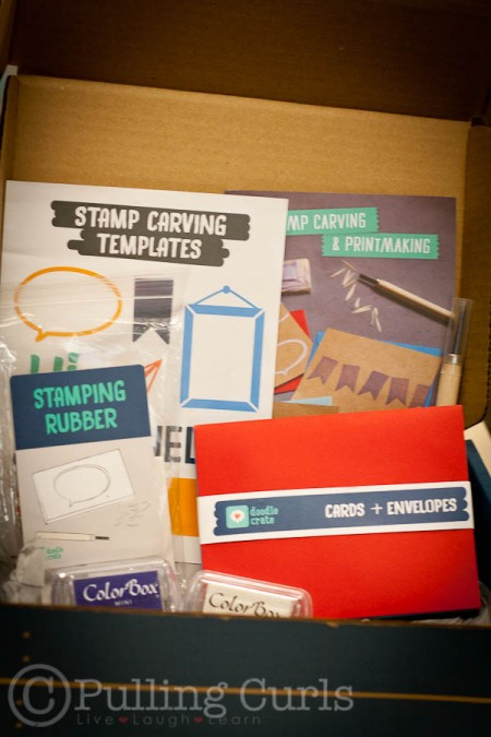 This Doodle Crate helps you make your own stamps with an exacto knife!