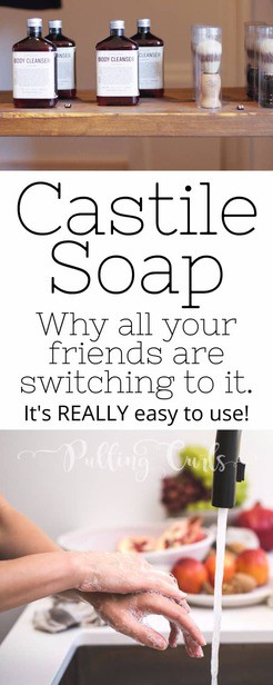 Castile Soap uses vary widly -- shampoo, face wash, bodywash, laundry detergent, cleaner. You can easily DIY your favorite places! via @pullingcurls