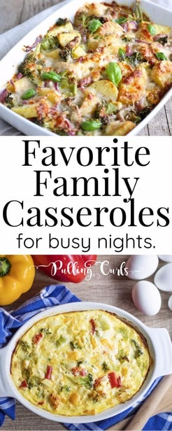 Best casseroles are easy, tasty and but a family-happy dinner on the table in hardly any time! Let's talk about some easy casserole recipes. /dinner / comfort foods / healthy / ground beef / chicken / dishes / easy Mexican via @pullingcurls