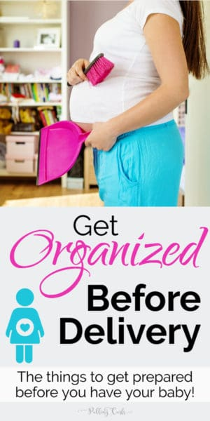 pregnant woman organizing