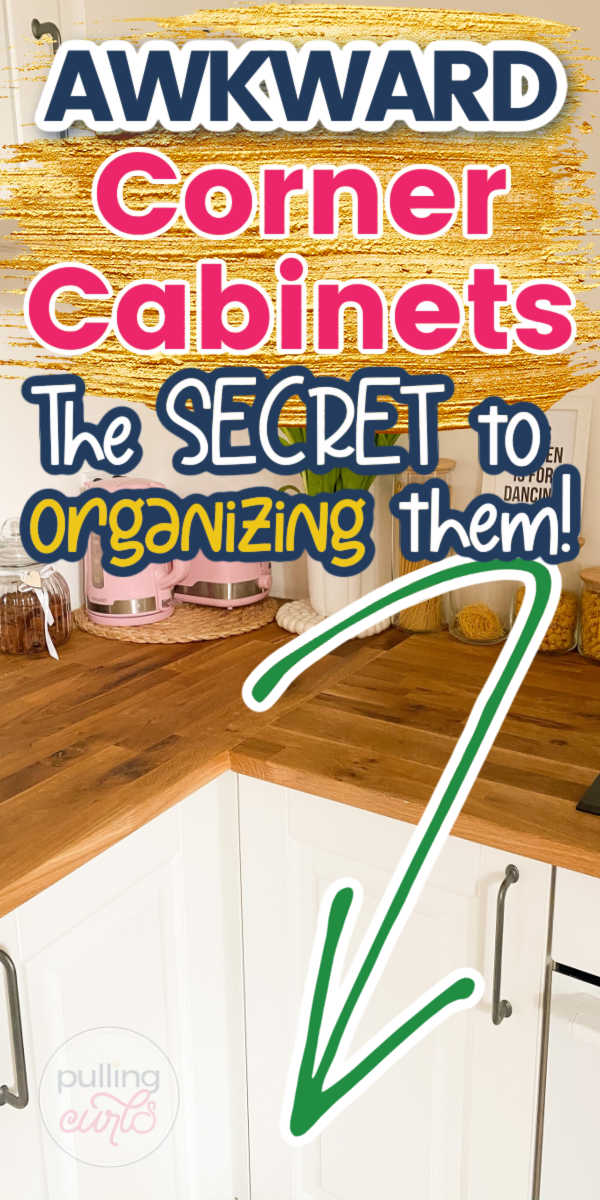 Organizing corner cabinets can be REALLY hard. They are often awkward but do have good storage space. In this post, I share some of the ways I organized mine an how a simple $15 changed how much easier it was to use! #kitchen #cabinets via @pullingcurls